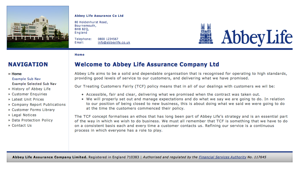 Abbey Life Homepage Template