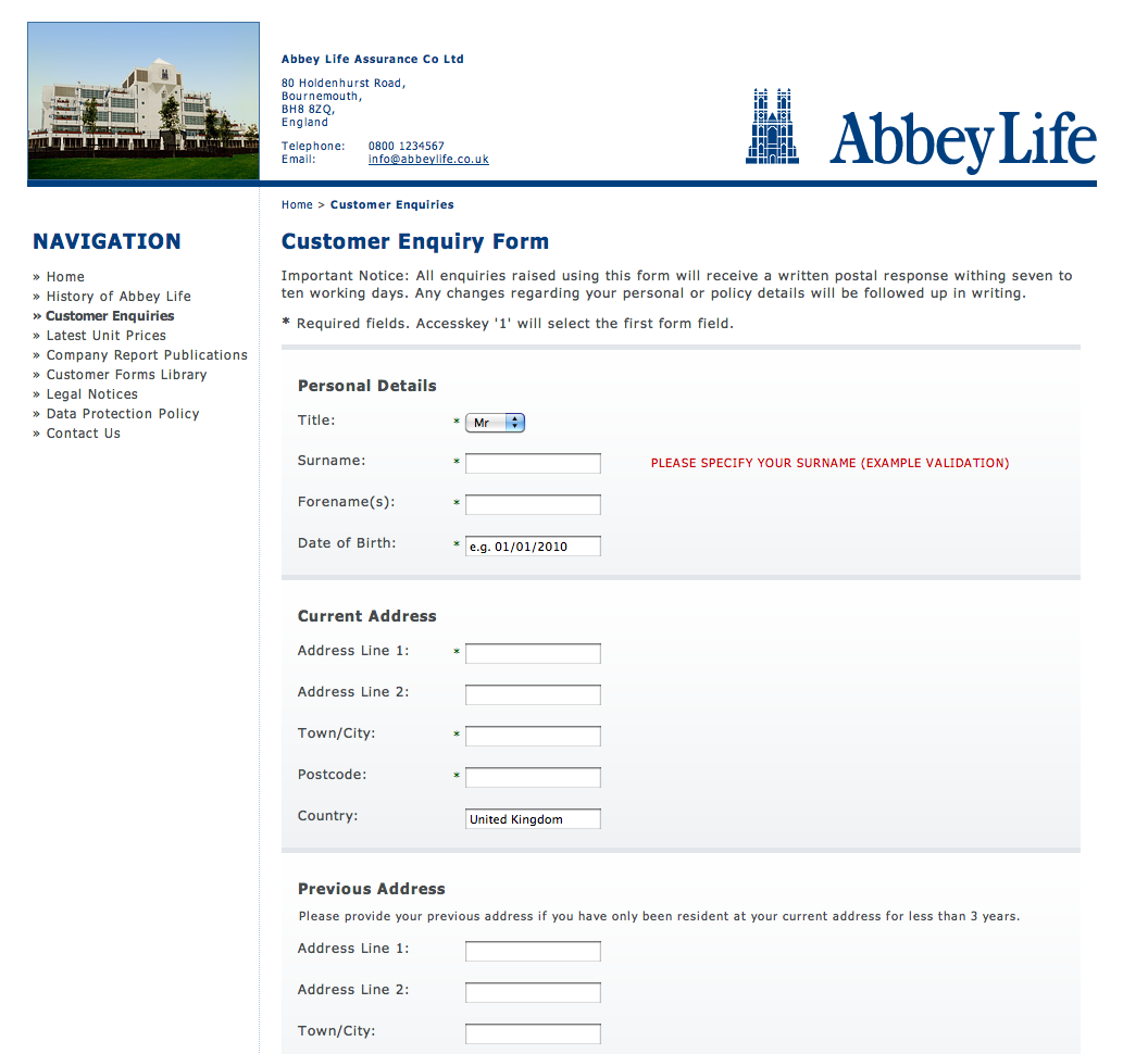 Abbey Life Form Template