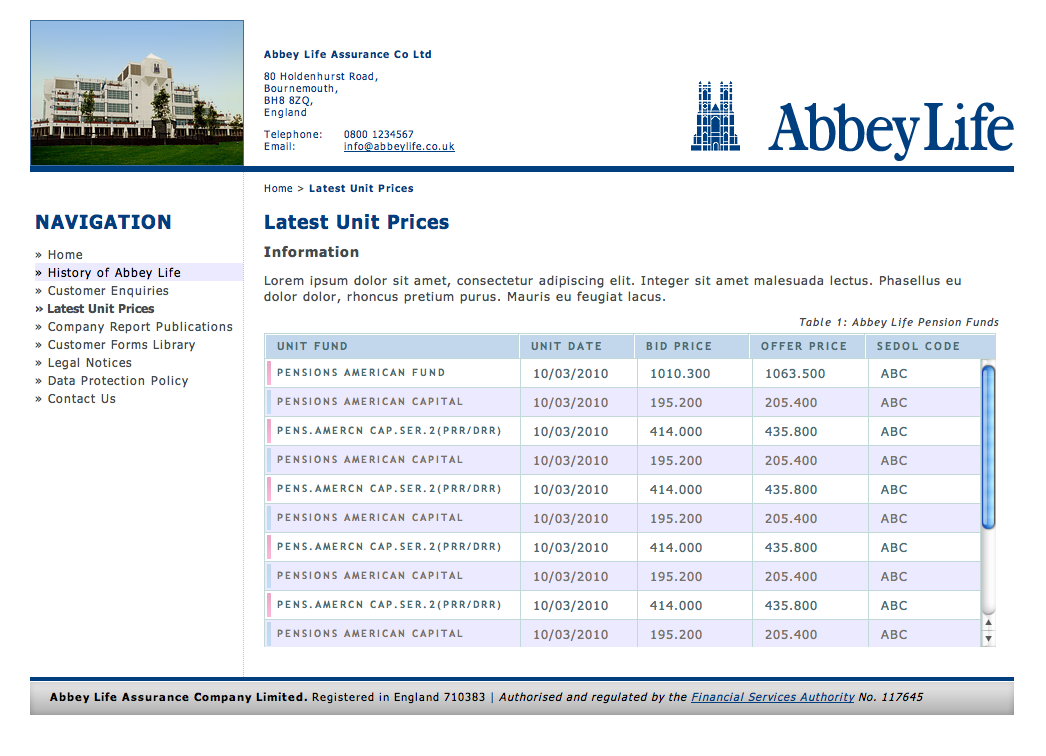 Abbey Life Table Template